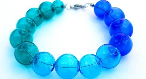 браслет мурано, муранское выдувное стекло браслет, браслет в морском стиле