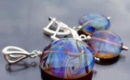 комплект украшений лэмпворк купить, сильвер стекло