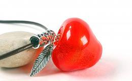 кулон яблоко, стеклянное яблоко, яблоко из стекла, яблоко кулон, яблоко полое, яблоко выдувное, красное яблоко, лэмпворк яблоко