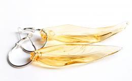 серьги листья, золотистые листья из стекла, серьги листья лэмпворк, длинные серьги,вытянутые серьги лэмпворк купить,муранское стекло серьги купить, желтые прозрачные листья серьги