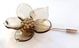брошь цветок мурано, цветок из стекла, стеклянная брошь купить, брошь булавка с цветком