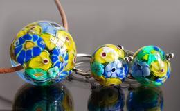 миллефиори, комплект мурано, украшения мурано купить, авторский лэмпворк купить, яркий комплект украшений, цветочные бусины лэмпворк