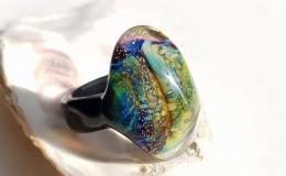 перстень лэмпворк, кольцо лампворк, кольцо стекло, стеклянный перстень, кольцо с галактикой, маленький перстень