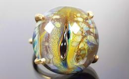 перстень лэмпворк, лампворк кольцо, кольцо из стекла, стеклянный перстень, глаз дракона, кольцо с глазом, глаз рептилии, разъемный перстень