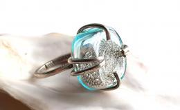 кольцо из стекла, перстень лэмпворк, стеклянное кольцо, кольцо блестящее, авторский перстень лэмпворк, кольцо с песком, кольцо с бисером, кольцо с насыпушкой, голубое кольцо