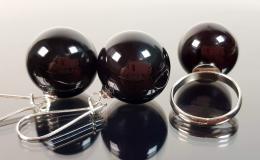 комплект украшений лэмпворк купить, вишневое стекло