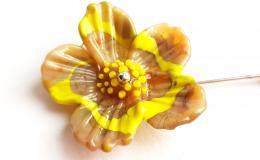 брошь лэмпворк, брошь цветок, брошь стекло, цветок стекло купить, брошь шпилька с цветком, стеклянный цветок, авторский цветок лампворк, крупная брошь из стекла