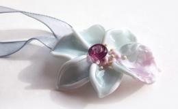 орхидея стекло, кулон цветок из стекла, роскошный цветок лэмпворк, кулон орхидея купить