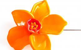 нарцисс брошь, оранжевый цветок, цветок брошь муранское стекло
