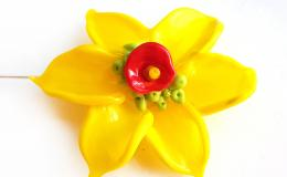 нарцисс брошь, брошь крупный цветок, лимонный нарцисс украшение лэмпворк