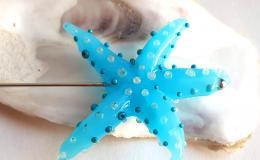 морская звезда брошь, лэмпворк морская звезда