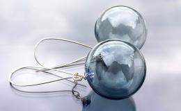 серьги выдувные, серьги шары, серые выдувные серьги, серьги лэмпворк, муранское стекло, серьги крупные из стекла купить