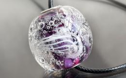 кулон стекло, аквариум лэмпворк, подводный мир лэмпворк, кулон шар, крупная бусина стекло, кувшинки