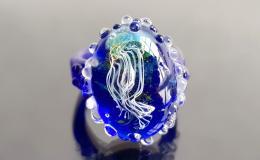 кольцо с медузой, медуза лэмпворк, муранское стекло купить, кольцо венецианское стекло, перстень мурано