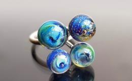 кольцо с галактикой лэмпворк, муранское стекло перстень купить