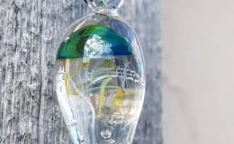 кулон с медузой, медуза лэмпворк, медуза в капле, муранское стекло украшение с медузой