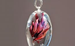 кулон капля, кулон лэмпворк, цветок муранское стекло, подвеска мурано с серебром