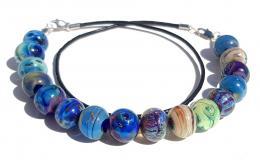 колье браслет из муранского стекла, браслет из бусин лэмпворк, браслет и колье из бусин галактик