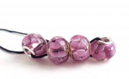 бусины для браслетов, бусины фиалки, фиалки стекло, розовые шармы, голубые цветы стекло, лэмпворк купить