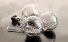 комплект украшений с выдувными шариками из стекла купить, выдувные шары серьги с микробисером, серьги с песком