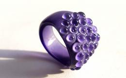 кольцо из стекла, перстень лэмпворк,стеклянное кольцо, кольцо блестящее, авторский перстень лэмпворк, кольцо с песком, кольцо с бисером, кольцо с насыпушкой, голубое кольцо